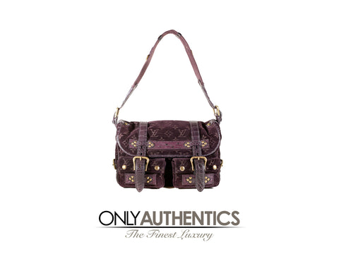 Eggplant Monogram Velours Clyde Bag