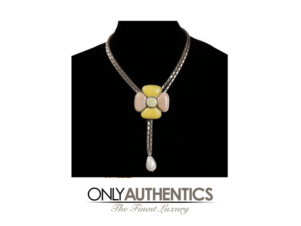 Chanel Pastel Gripoix  Camellia Flower Necklace