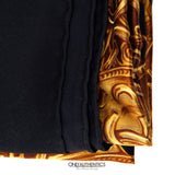Chanel Black Silk Gold Coins Shawl