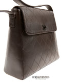 Brown Leather Flat Stitched Bag