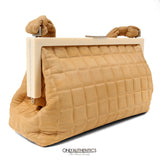 Chanel Beige Chocolate Bar Quilted Frame Bag