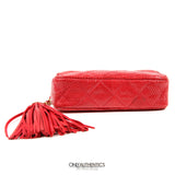 Vintage Braise Red Lizard Tassel Clutch