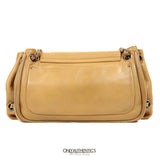 Beige Leather Accordion Flap Bag