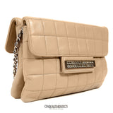 Beige Lambskin Double Gusset Cross-body Bag