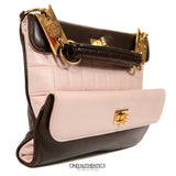 Pink and Brown Leather Clutch with Handle