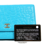 Chanel Turquoise Leather Camellia Wallet on a Chain WOC