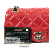 Chanel Red Distressed Leather Small Classic Crossbody  Bag