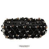 Black Satin Beaded Mesh Evening Bag