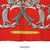 Red Le Mors a la Conetable 90 cm Silk Scarf