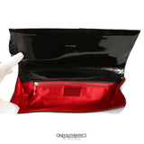 Black Patent Leather Bow Clutch