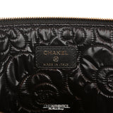 Chanel Black Leather Camellia Quilted Clutch