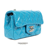 Turquoise Patent Leather Mini Classic Flap Bag