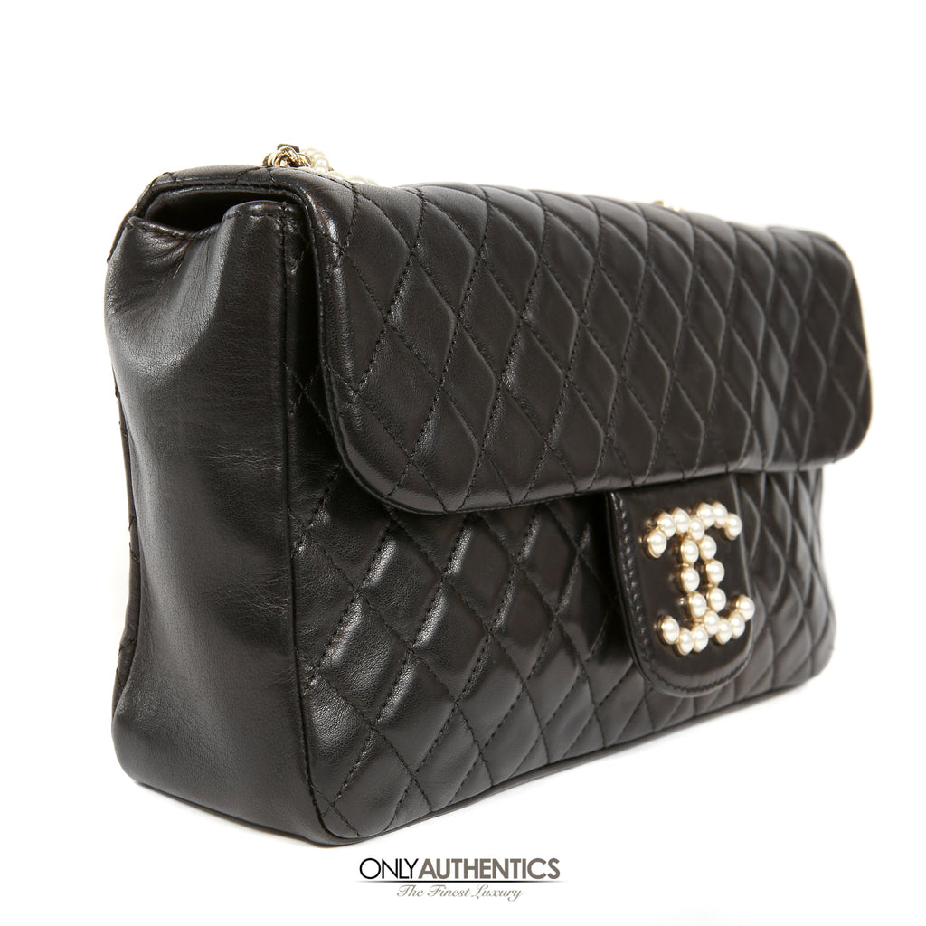 b5865af490f497 Chanel Black Lambskin Westminster Pearl Flap Bag – Only Authentics