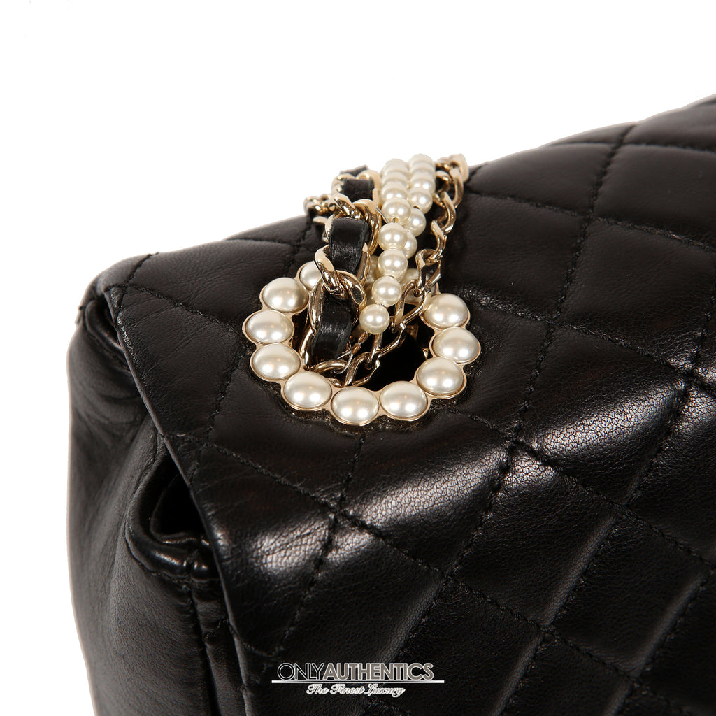 5633342ff4a5f0 Chanel Black Lambskin Westminster Pearl Flap Bag – Only Authentics