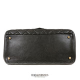 Black Leather Large Flap Bag