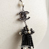 Chanel  Black and White CC  Pearl Tassel Pin