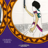 Chanel Purple Silk Rue Cambon Scarf