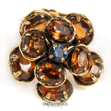 Citrine Crystal Flower Clip On Earrings
