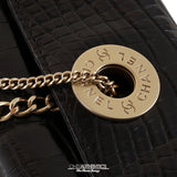 Chanel Black Crocodile Clutch with Double Pearl Chain