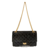Chanel Black Distressed Calfskin Medium 2.55 Reissue Flap Bag