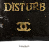 Chanel Black and Gold Sequin Do Not Disturb Evening Bag