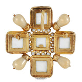 Chanel White Enamel and Pearl Maltese Cross Pin