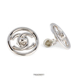 Chanel Round Silver CC Twist Lock Earrings