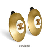 Chanel Brushed Gold CC Earrings