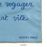 Hermès Blue Le Chat Botte Silk Pochette Scarf