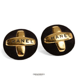 Chanel Black Suede Masterpiece Cross Earrings