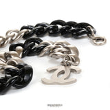 Chanel Silver and Black Resin Curb Chain CC Choker