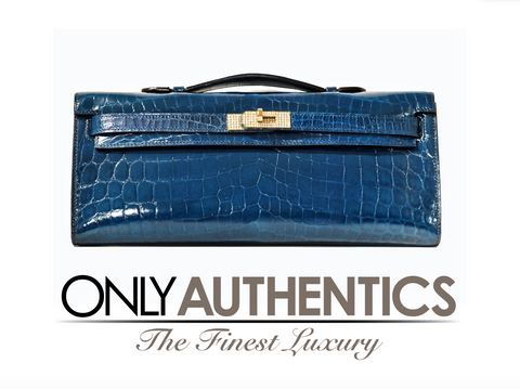 Hermès Diamond Blue Izmir Crocodile Kelly Cut Clutch