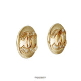 Chanel Gold CC Mini Button Earrings
