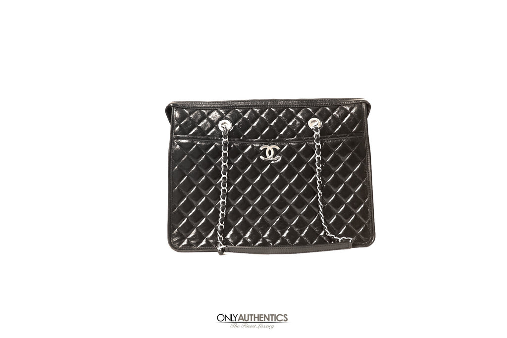 Chanel Black Glazed Leather Executive Tote