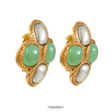 Chanel Green Gripoix and SIlver Pearl Earrings