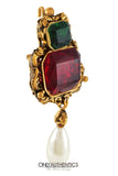 Chanel Red and Green Gripoix  Emerald Cut Vintage Brooch