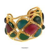 Chanel Red and Green Gripoix Cuff