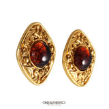 Chanel Red Gripoix Clip On Earrings