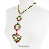 Chanel Runway Red and Green Gripoix and Pearl Necklace