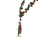 Chanel Red and Green Gripoix Triple Strand Necklace