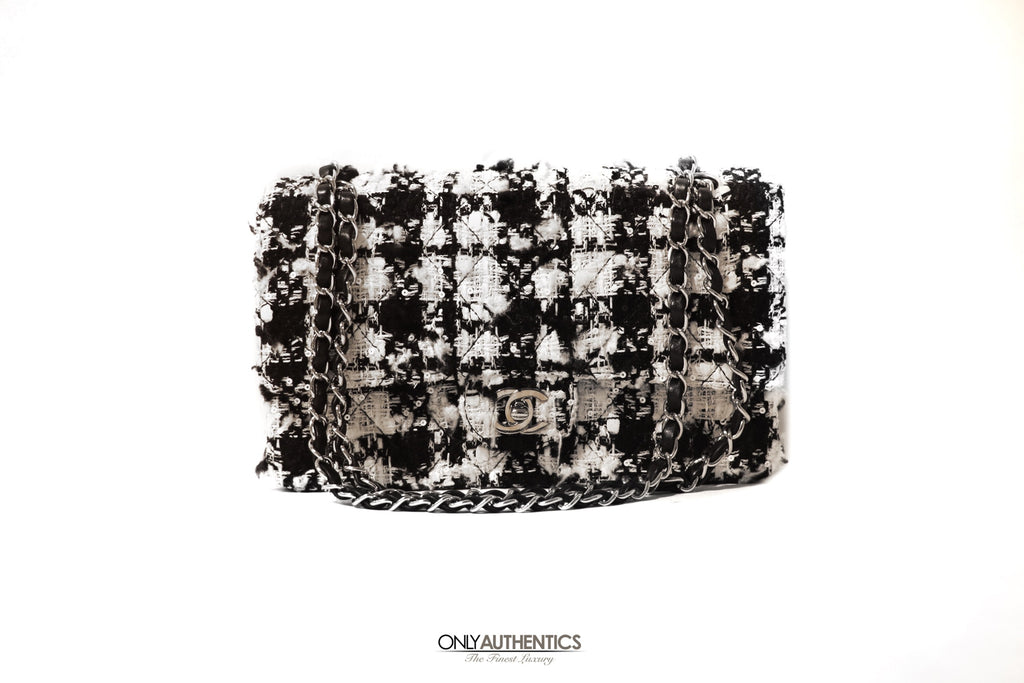 Chanel Houndstooth Tweed Double Flap Bag