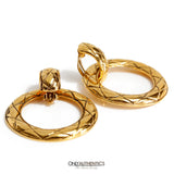 Chanel Gold Quilted Hoop Earrings