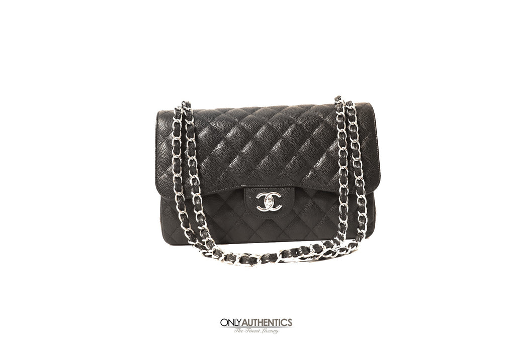 Chanel Black Caviar Jumbo Classic Flap Bag