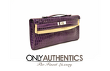 Hermès Diamond Amethyst Crocodile Kelly Cut Clutch