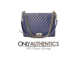 Chanel Blue Leather Large Boy Bag
