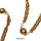 Chanel Gold and Pearl Double Strand Necklace