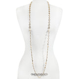 Chanel Rose Cut Crystal and Pearl Long Necklace
