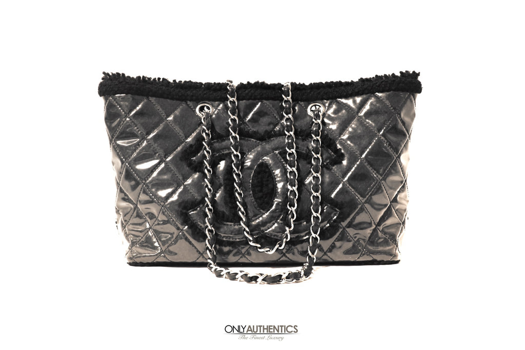 Chanel Black Coco Vinyl Biarritz Shearling Tote Shopper