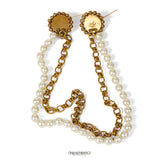 Chanel Double Pearl Pins with Chain and Pearl Strand