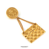 Chanel Gold Quilted CC Flap Bag Pin